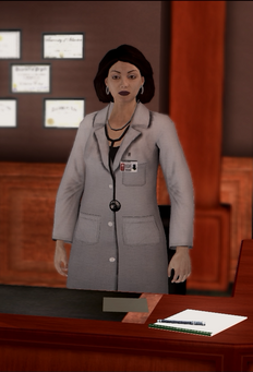 Dr Angie Lucas - standing in Insurance Fraud cutscene