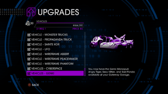 Upgrades menu in Saints Row IV - Page 4 of Vehicles
