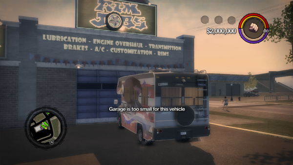 Rim Jobs - Garage is too small for this vehicle message in Saints Row 2