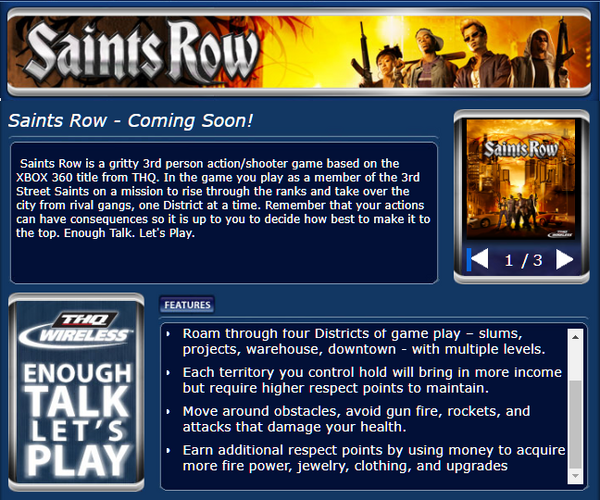 Saints Row mobile website
