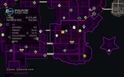 Map of broken parking space in Saints Row IV