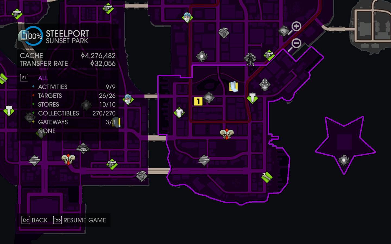 Map of broken parking space in Saints