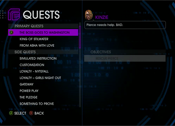 Quests Menu - The Boss Goes To Washington