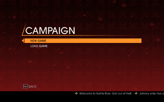 Saints Row Gat out of Hell - Main Menu - Campaign