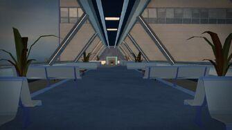 Stilwater Science Center in Saints Row 2 - interior of upper walkway