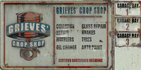 Vehicle Theft - Grieves' Chop Shop sign