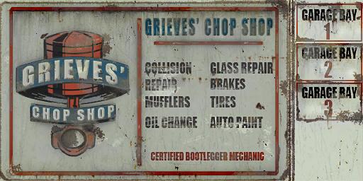 Vehicle Theft - Grieves' Chop Shop sign