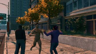 Naked Male Playa running towards the camera in Saints Row The Third