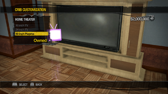 Saints Row Mega Condo - Crib Customization - Home Theater - 50 inch Plasma