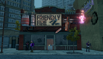 Friendly Fire exterior in Loren Square in Saints Row The Third