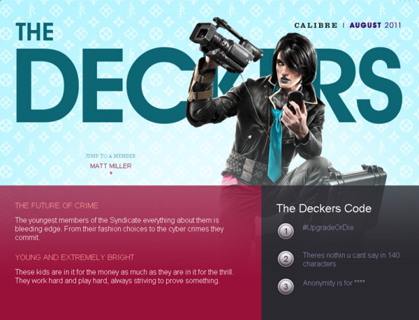 Saints Row website - Gangs - The Deckers - intro