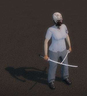 Dual Samurai Swords - Playa standing idle outside of Kanto Connection