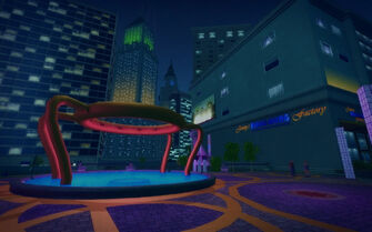 Nob Hill in Saints Row 2 - fountain