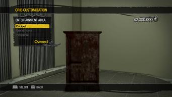 Saints Row Mega Condo - Crib Customization - Entertainment Area - Cabinet