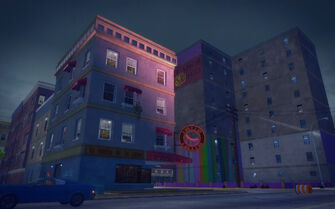 Southern Cross in Saints Row 2 - La vuelta de la carne at night