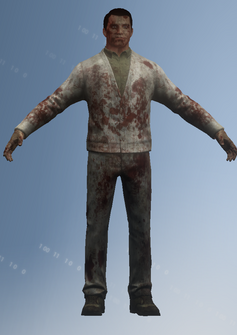 Zombie - college - default pose - character model in Saints Row IV