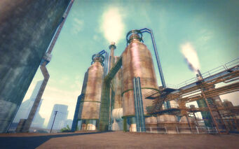 Pilsen in Saints Row 2 - refinery towers