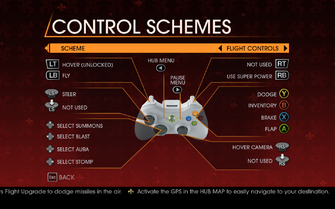 Saints Row Gat out of Hell - Main Menu - Options - Controls - Gamepad - Control Schemes - Flight Controls