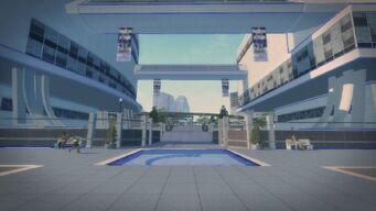Stilwater Science Center in Saints Row 2 - exterior under walkways
