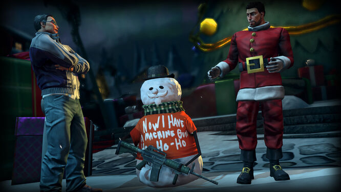 How the Saints Save Christmas - Johnny Gat, Playa, and a snowman