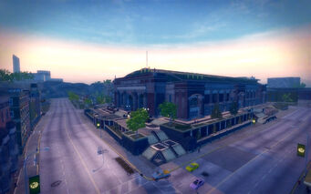 Frat Row in Saints Row 2 - Culex stadium aerial view