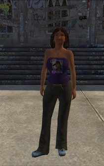 Generic young female 03 - Aisha's sister - black pants, brown tie, blue shoes - character model in Saints Row