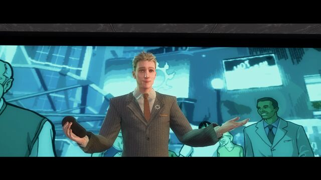 File:An Amazing Quarter - Dane Vogel during presentation with smiling characters on screen.jpg