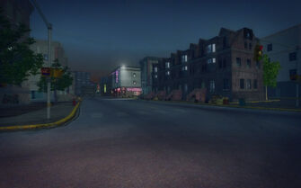 Bavogian Plaza in Saints Row 2 - view of Saints Hideout from Red Light Loft