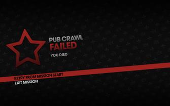 Pub Crawl fail screen