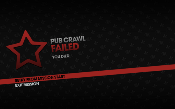 Pub Crawl fail screen