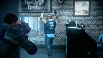 Robbing Rusty's Needle - clerk walking to register in Saints Row IV