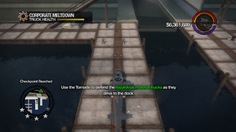 Corporate Meltdown - Checkpoint - Use the Tornado to defend the hazardous material trucks as they drive to the dock