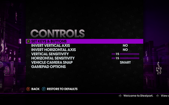Saints Row The Third - Main Menu - Options - Controls