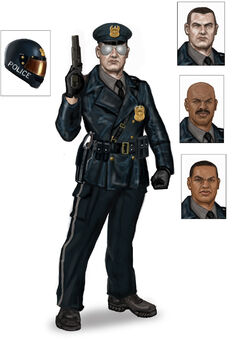 Steelport Police concept art - final outfit with 3 alternate faces