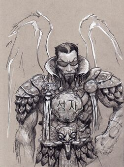 Johnny Gat Concept Art - Gat out of Hell Barbarian look - asian characters on chestplate