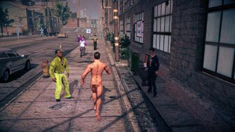 Naked Male Playa running away from the camera in Saints Row IV