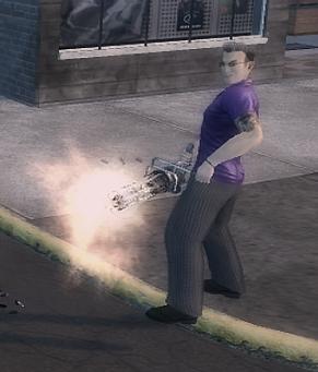 Gat wielding a Mini-Gun