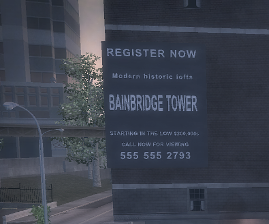 Bainbridge Tower side sign