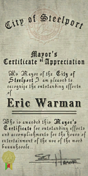 Credits - Mayor Certificate - Eric Warman