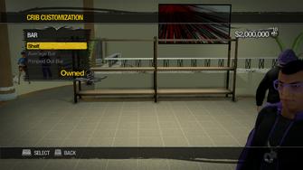 Saints Row Mega Condo - Crib Customization - Bar - Shelf