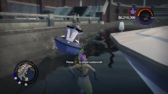 Press Y to enter watercraft