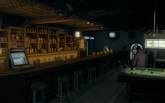Broken Shillelagh interior - long view of bar and poker machine