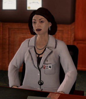 Dr Angie Lucas - sitting in Insurance Fraud cutscene