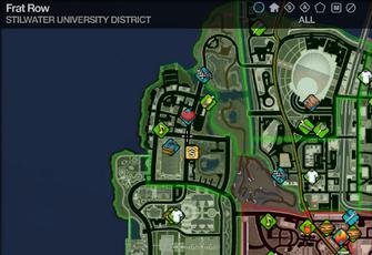 Map in Saints Row 2 - Stilwater University - Frat Row