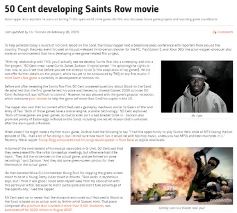Saints Row movie Gamespot article