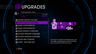Upgrades menu in Saints Row IV after unlockitall - Flame Weapon Costumes