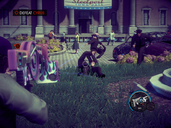 Hello Teacup - Defeat Cyrus - shooting a cop with the Dubstep Gun