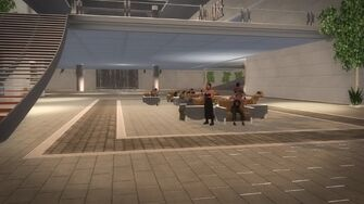 Rounds Square Shopping Center interior seating with goth smoking