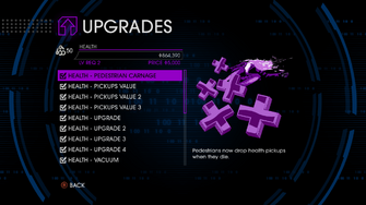 Upgrades menu in Saints Row IV - Page 1 of Health