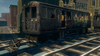 Close up of Train on tracks in Loren Square in Saints Row The Third